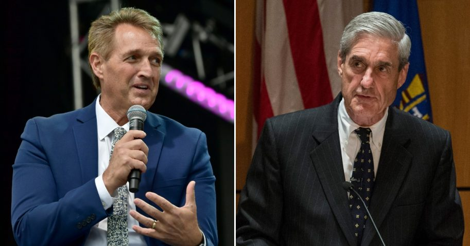 Jeff Flake, left, and Robert Mueller, right.