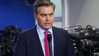 CNN's Jim Acosta pictured before a White House news briefing.