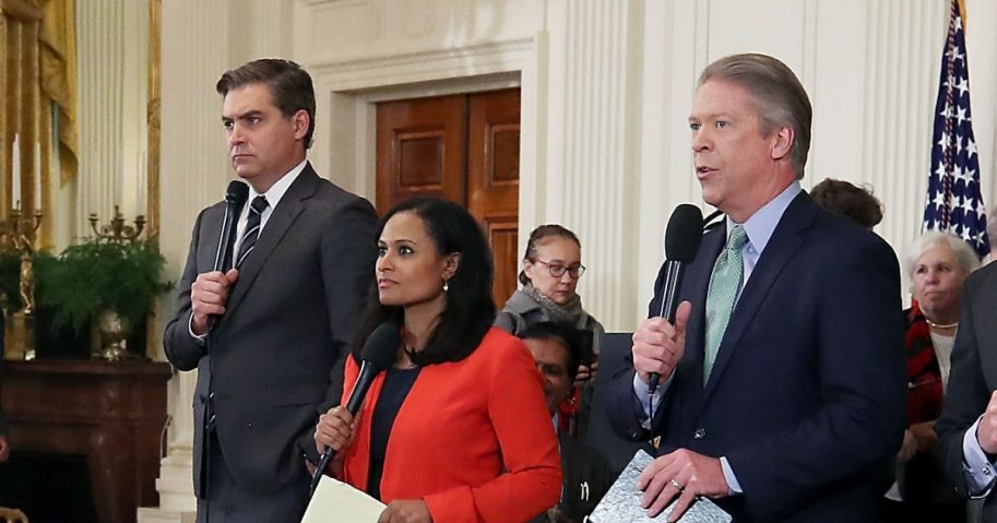 White House television correspondents report after U.S. President Donald Trump gave a press conference a day after the midterm elections on Nov. 7, 2018.