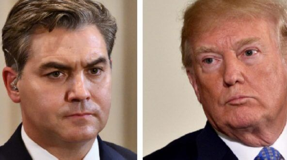 CNN White House correspondent Jim Acosta, left; and President Donald Trump, right.