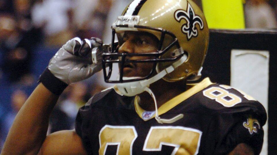 Joe Horn of the New Orleans Saints celebrates with a cellphone after scoring a touchdown against the New York Giants on Dec. 14, 2003, at the Superdome.