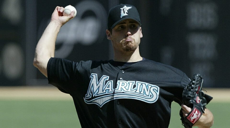 Justin Wayne of the Florida Marlins pitches against the San Francisco Giants in April 2004.