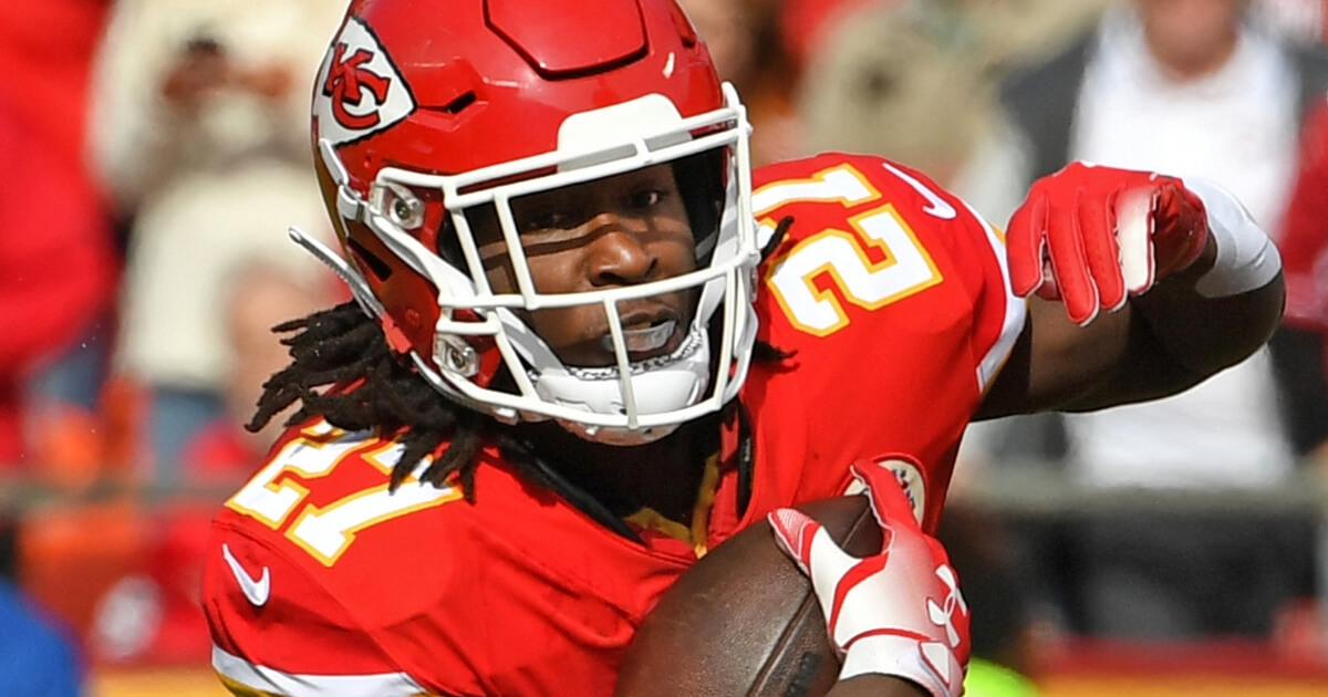 Running back Kareem Hunt of the Kansas City Chiefs scrambles for yardage against the Arizona Cardinals during Nov. 11 game at Arrowhead Stadium.