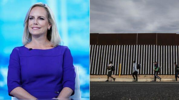 U.S. Secretary of Homeland Security Kirstjen Nielsen visits 'The Daily Briefing,' left, migrants walk along the U.S. border, right.