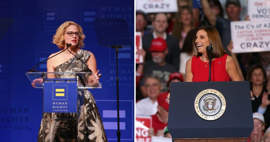 Kysten Sinema, left, Martha McSally, right.