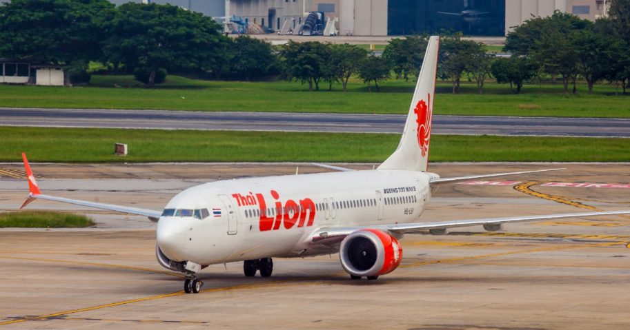 A Lion Air 737 Max, similar to the model that crashed last week off the coast of Indonesia, is seen after arriving in Bangkok on Oct. 13.