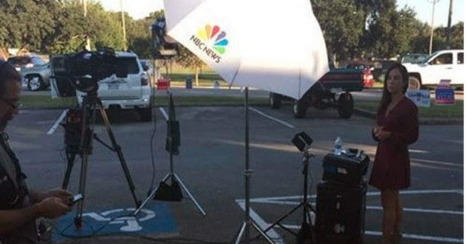 A MSNBC crew has been criticized after setting up its cameras in two handicapped parking spaces at an early voting facility in Texas.