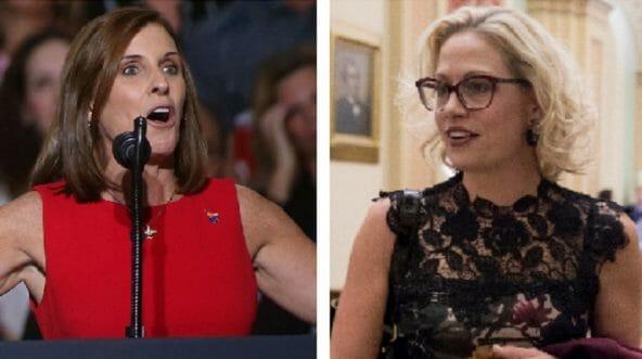 Rep. Martha McSally, right; Rep. Kyrsten Sinema, left.