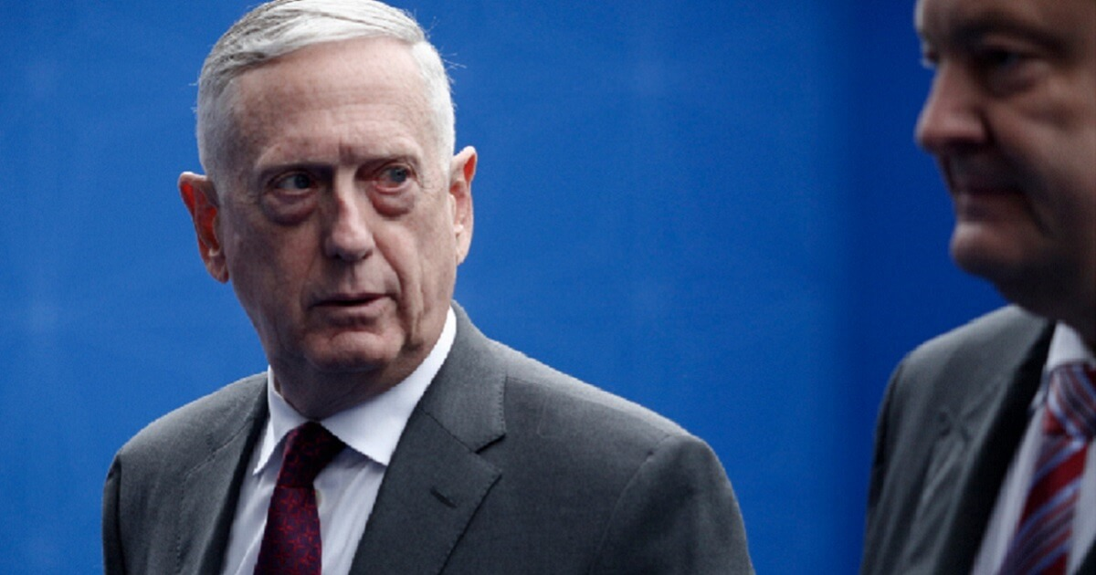 Defense Secretary James Mattis is pictured during a trip to Belgium in July in this file photo.