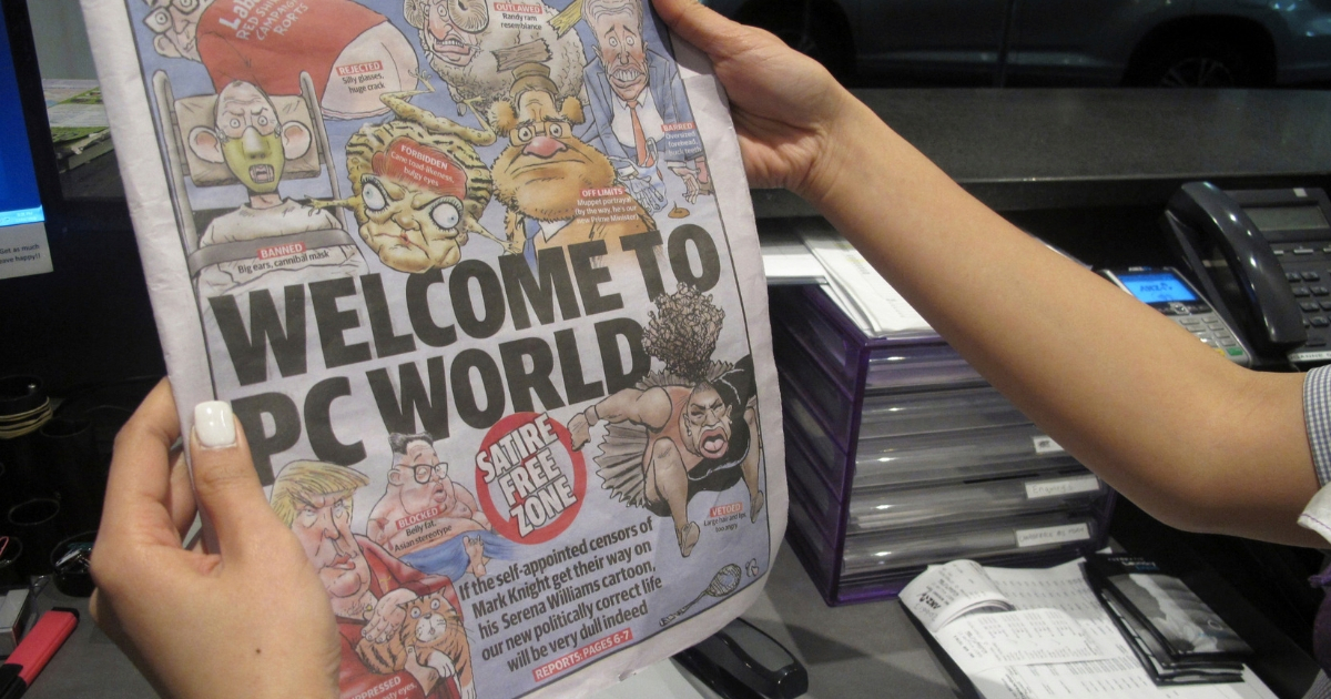 Melbourne-based newspaper Herald Sun displays a controversial cartoon of Serena Williams that has been widely condemned as a racist depiction of the tennis great, in Melbourne, Australia, Sept. 12, 2018.