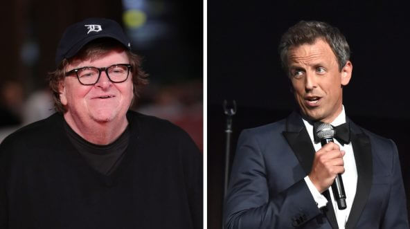 Michael Moore and Seth Meyers