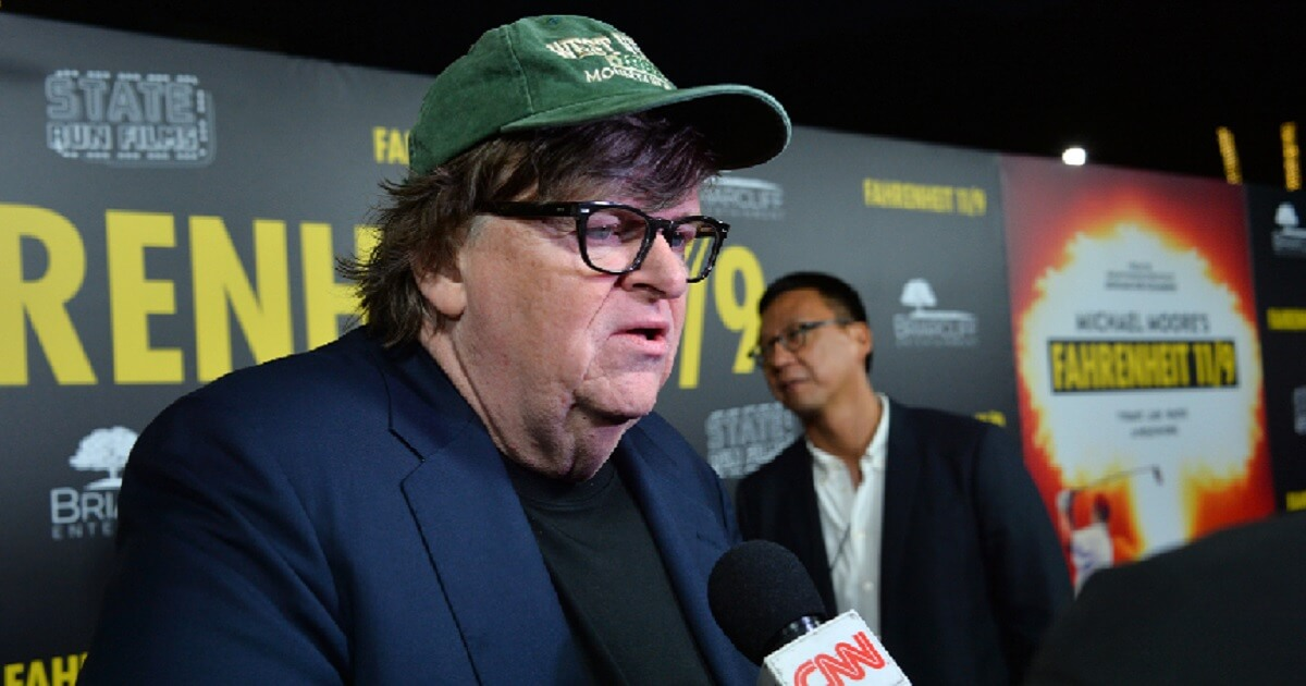 Michael Moore pictured during a September interview with CNN.