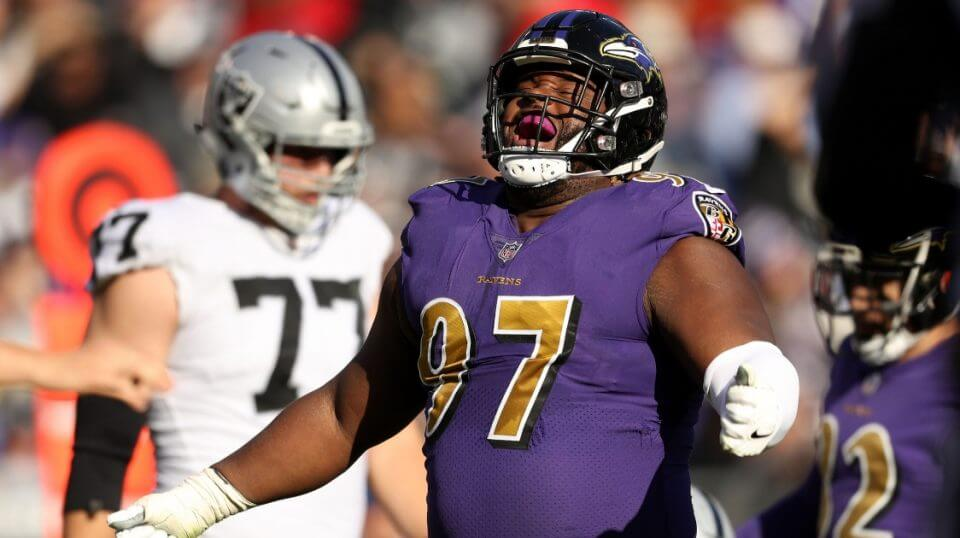 Ravens defensive tackle Michael Pierce reacts after a play in Baltimore's 34-17 win over the Oakland Raiders at M&T Bank Stadium on Sunday.