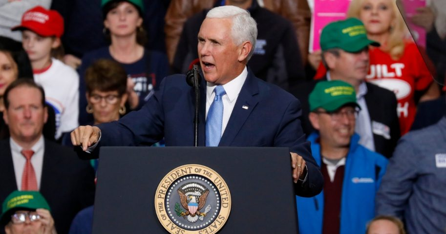 Vice President Mike Pence speaks at a campaign rally on Nov. 2, 2018, in Indianapolis, Indiana.