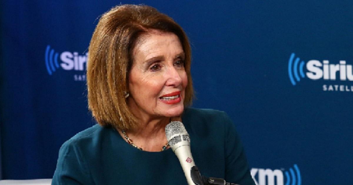 Nancy Pelosi being interviewed by Sirius XM hosts in October.