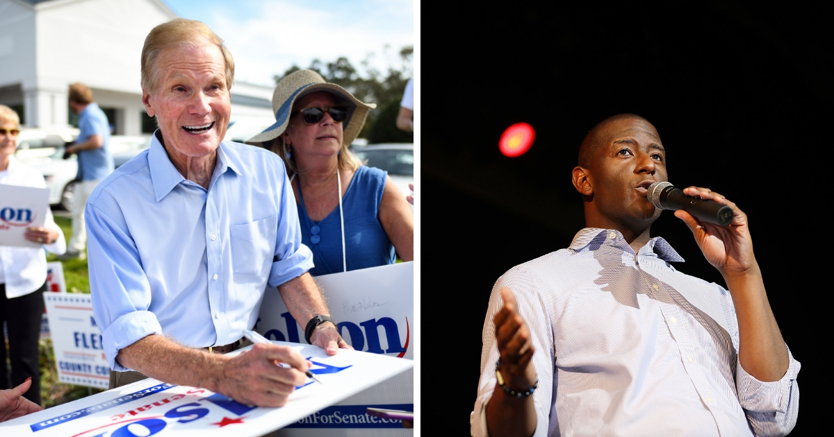 Senator Bill Nelson (left) and Florida Democratic gubernatorial candidate Andrew Gillum (right)