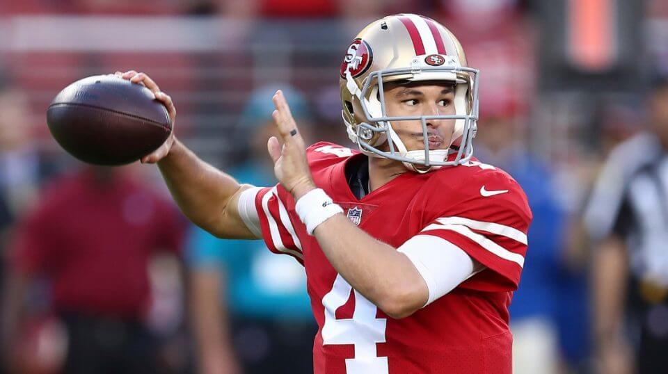 San Francisco 49ers quarterback Nick Mullens throws a pass against the Oakland Raiders on Thursday night in Santa Clara, California.