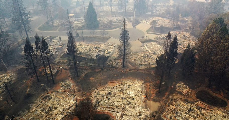 An aerial view Thursday of a neighborhood destroyed by the Camp Fire in Paradise, California.