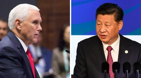 Vice President Mike Pence, left, speaks Thursday during the ASEAN-U.S. Summit in Singapore. At right, Chinese President Xi Jinping addresses the APEC CEO Summit on Saturday in Papua New Guinea.