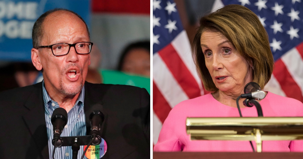 Democratic National Committee Chairman Tom Perez, left, and House Minority Leader Nancy Pelosi.