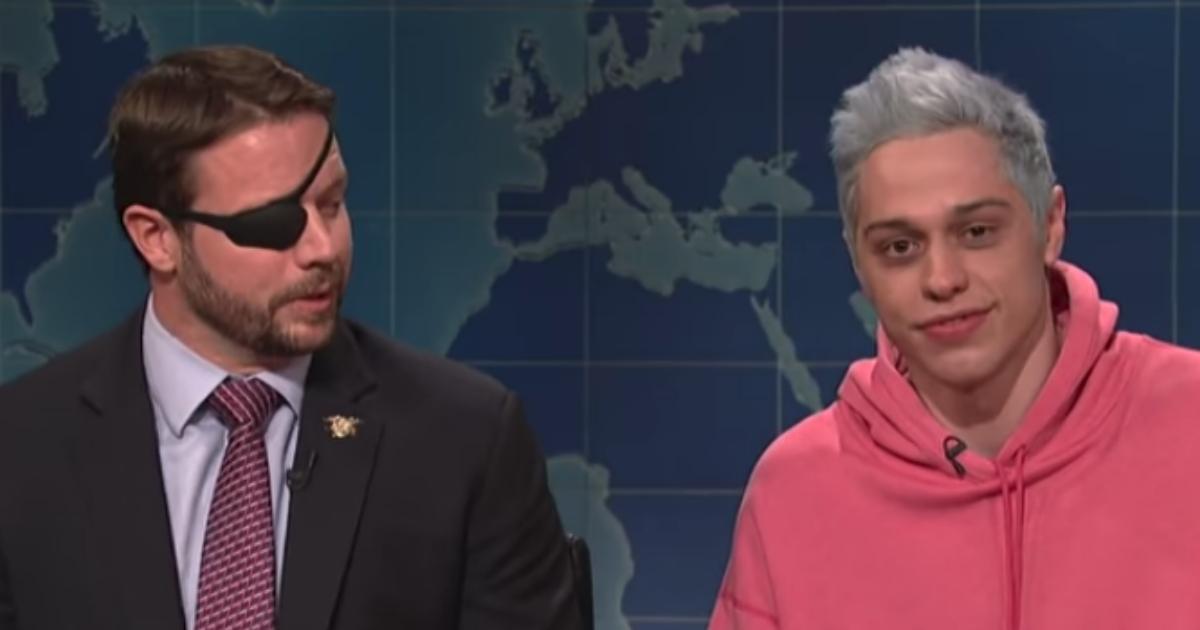 Military veteran Dan Crenshaw, left, appears with comedian Pete Davidson on NBC's 'Saturday Night Live.'