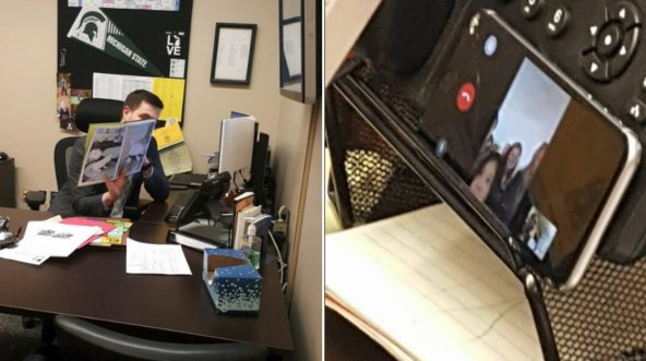 A principal reads to his students over FaceTime.
