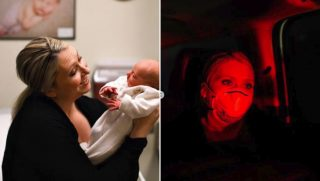 Rachelle Sanders and her newborn have to evacuate hours after birth.