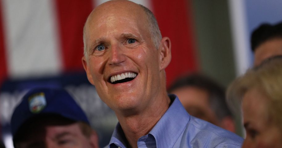 Florida governor and Republican senatorial candidate Rick Scott addresses the crowd as he attends a Get out the Vote Rally at AmeriKooler on Nov. 5, 2018, in Hialeah, Florida.