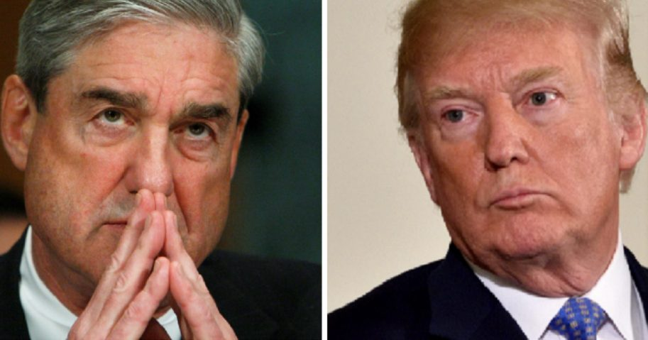Special counsel Robert Mueller, left; and President Donald Trump, right.