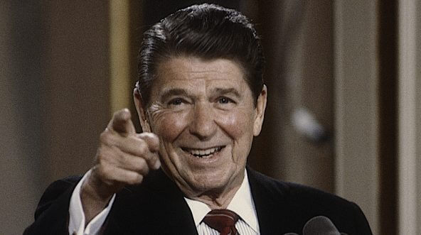 President Ronald Reagan points to a reporter during a May 1984 news conference.