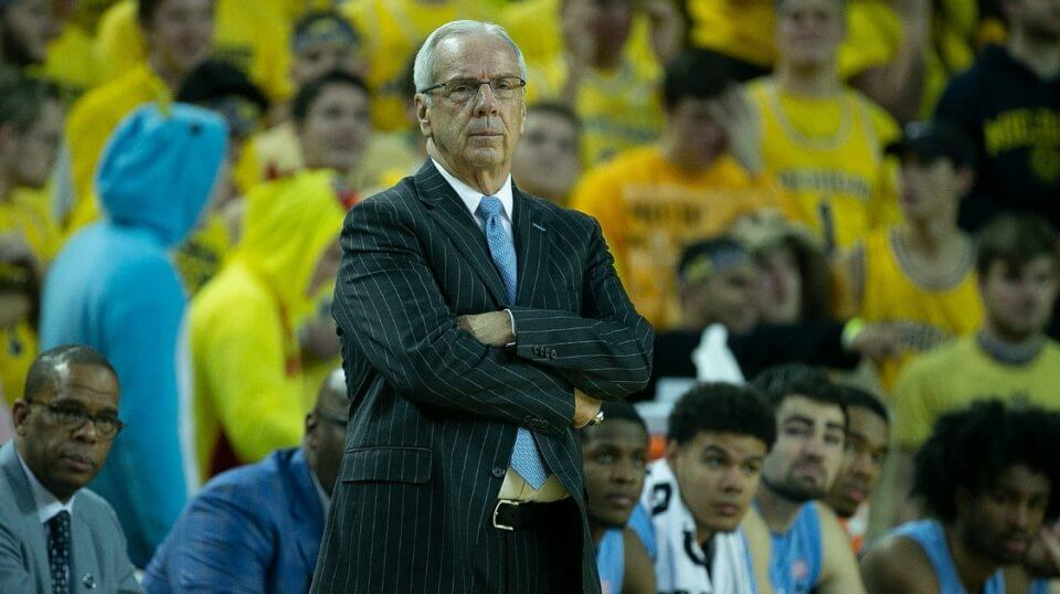North Carolina coach Roy Williams watches the action during the second half of the Tar Heels' game against the Michigan Wolverines at Crisler Center on Wednesday.