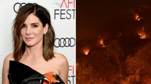 Sandra Bullock attends the gala screening of 'Bird Box,' left, and Spot fires burn on the hills above Pepperdine University during the Woolsey fire, right.