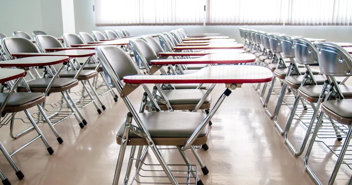 School desks empty classroom