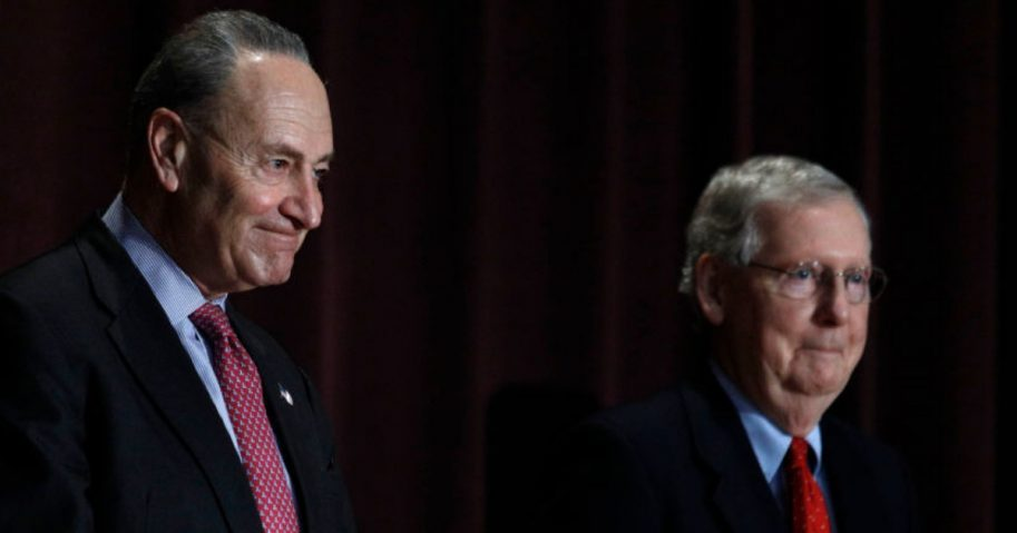 Sen. Chuck Schumer, left, and Sen. Mitch McConnell