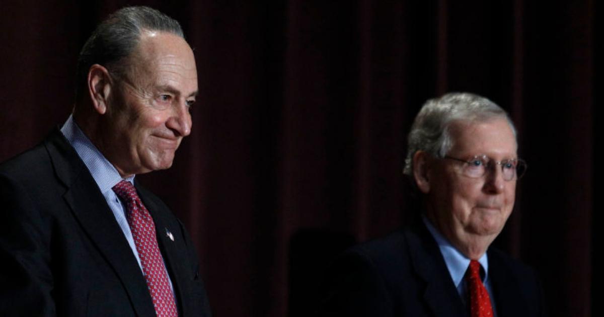 Sen. Chuck Schumer, left, and Sen. Mitch McConnell