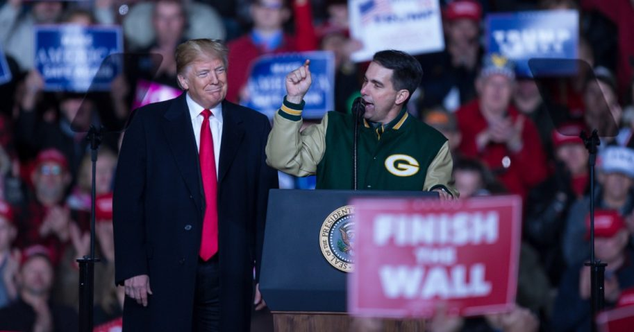 U.S. President Donald Trump appears with Wisconsin Gov. Scott Walker