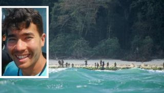 The dangerous and isolated Sentinelese tribe of India's North Sentinel Island. Inset: John Allen Chau.