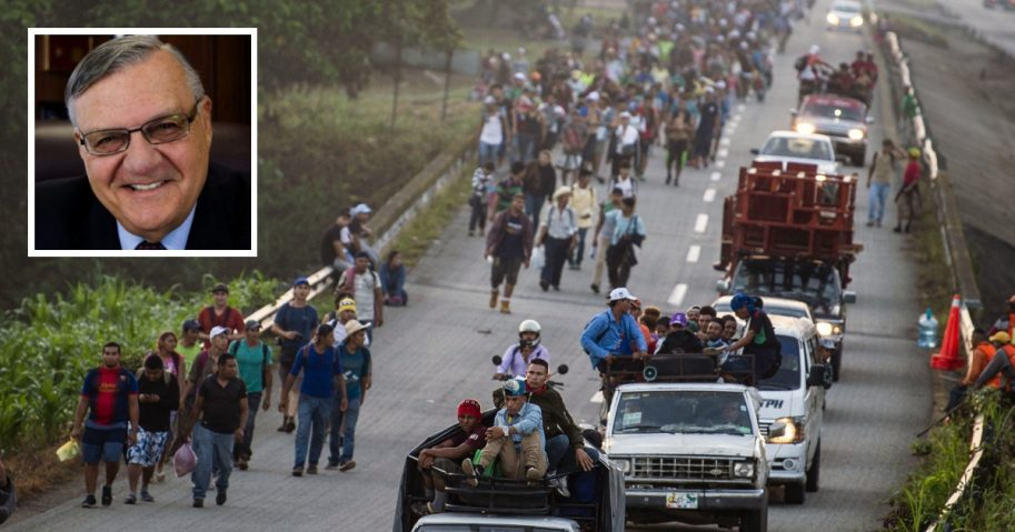 Honduran migrants walking and riding on trucks head through Mexico toward the United States. Inset: Joe Arpaio, former sheriff of Maricopa County, Arizona