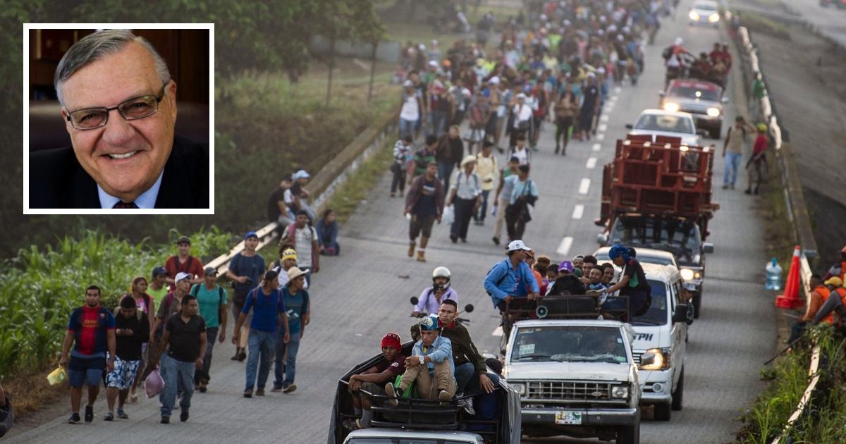 Honduran migrants walking and riding on trucks head through Mexico toward the United States. Inset: Joe Arpaio, former sheriff of Maricopa County, Arizona