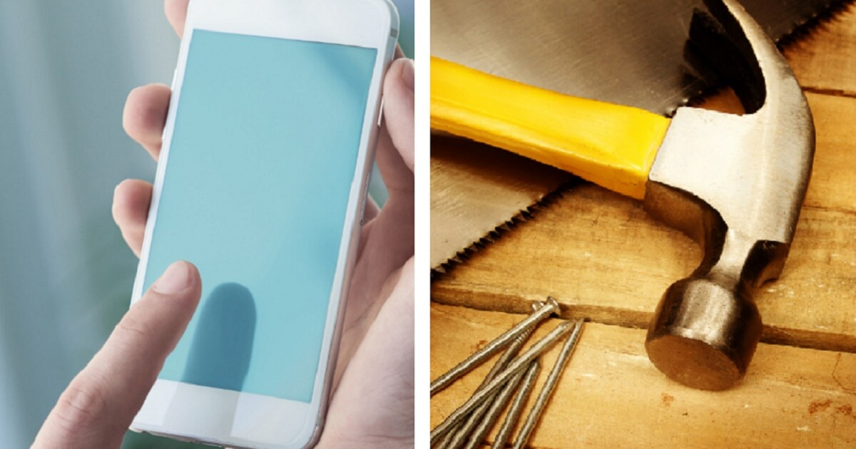 Smartphone left; and hammer with nails, right.