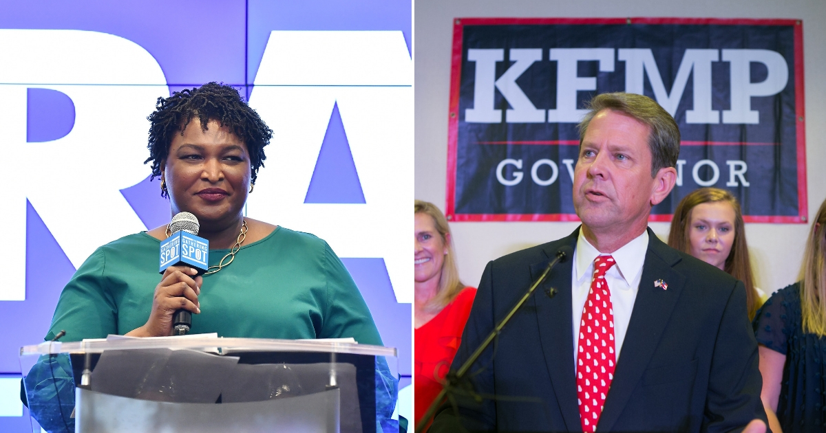 Stacey Abrams speaks onstage, left, and Brian Kemp addresses an audience in Georgia, right.