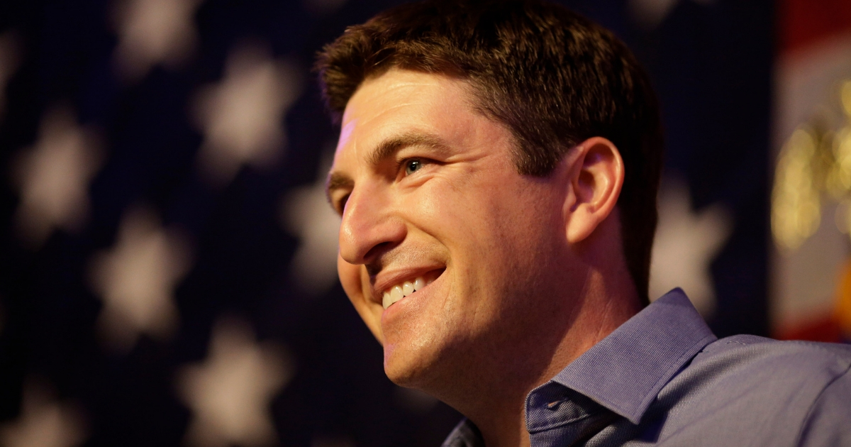 Wisconsin congressional candidate Bryan Steil gives a speech Aug. 14 after winning in the GOP primary.
