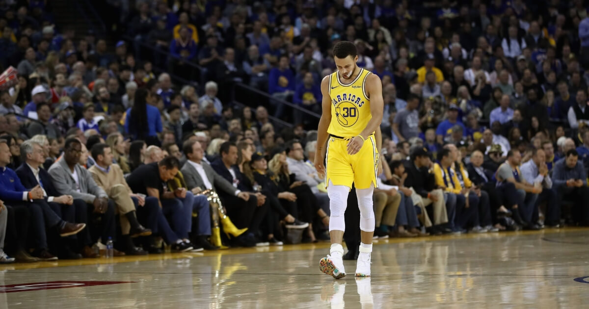 Stephen Curry of the Golden State Warriors walks back downcourt during their loss to the Milwaukee Bucks on Thursday.