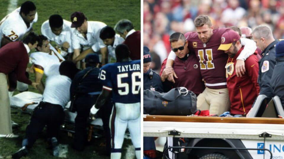 Redskins quarterbacks Joe Theismann, left, and Alex Smith being taken off the field after suffering broken legs exactly 33 years apart.