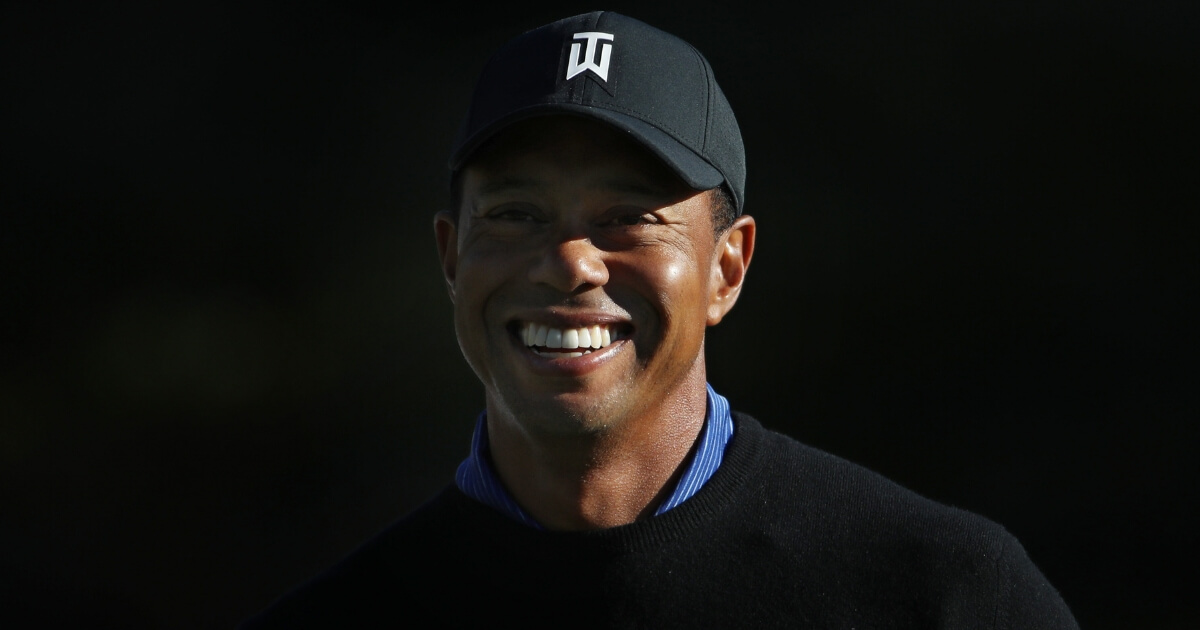Tiger Woods looks on during the Pro-Am Tournament for The Match: Tiger vs Phil at Shadow Creek Golf Course on Saturday in Las Vegas.