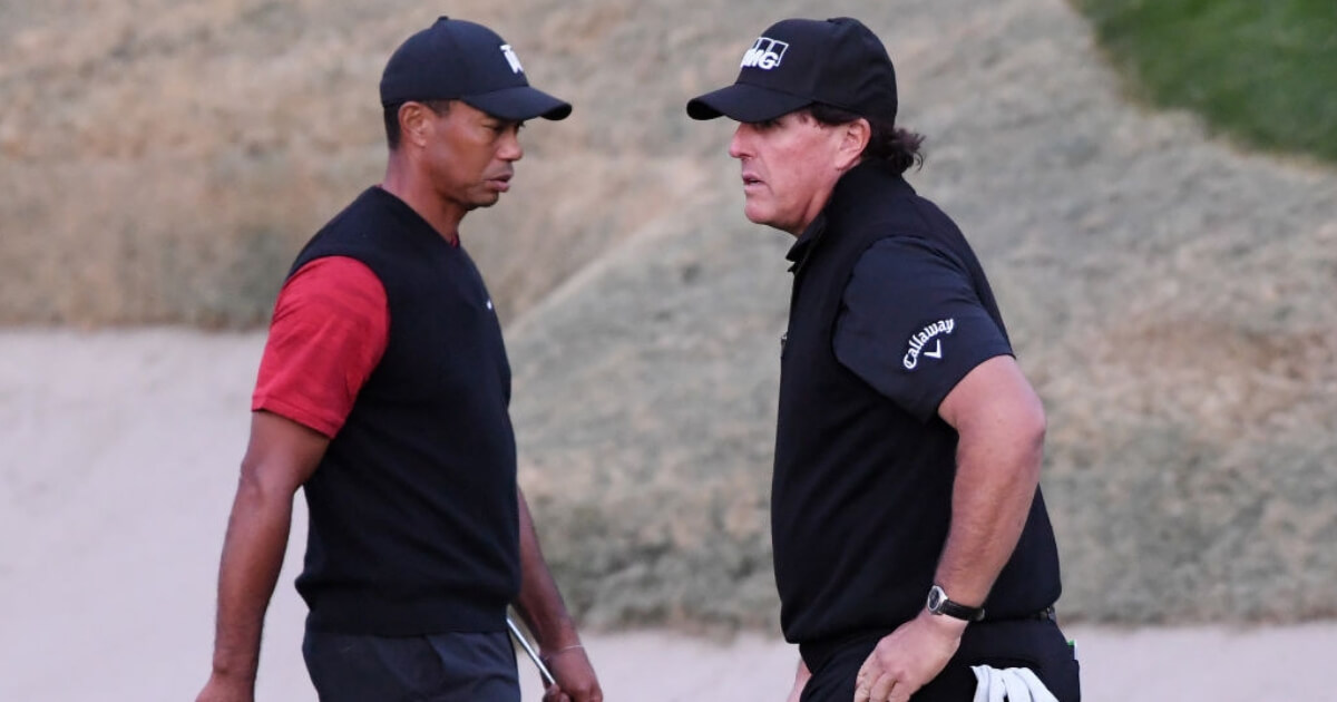 Tiger Woods and Phil Mickelson during their winner-take-all, match-play event Friday in Las Vegas.