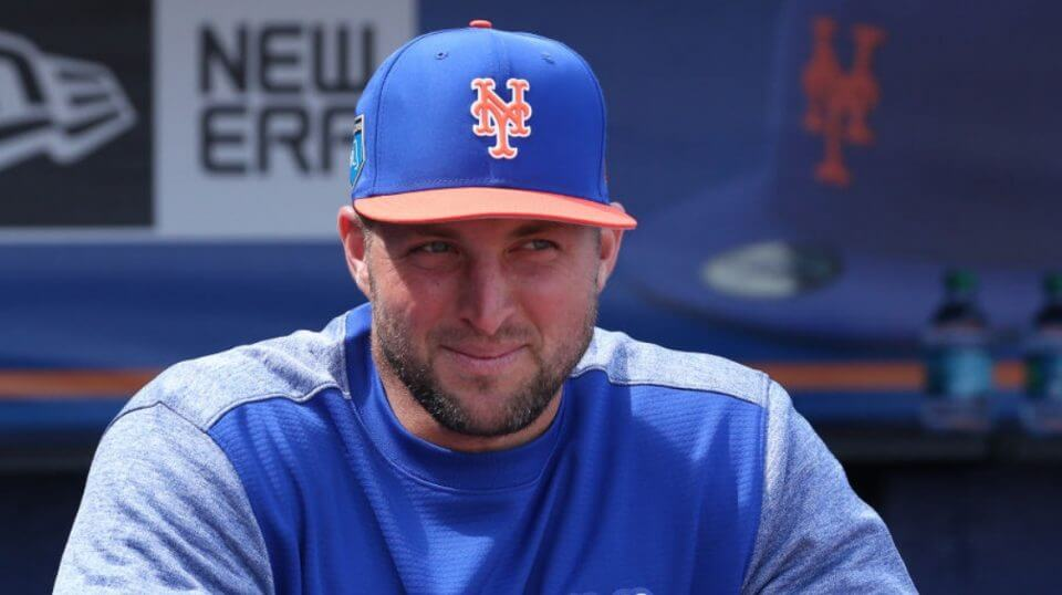 Tim Tebow in Mets uniform