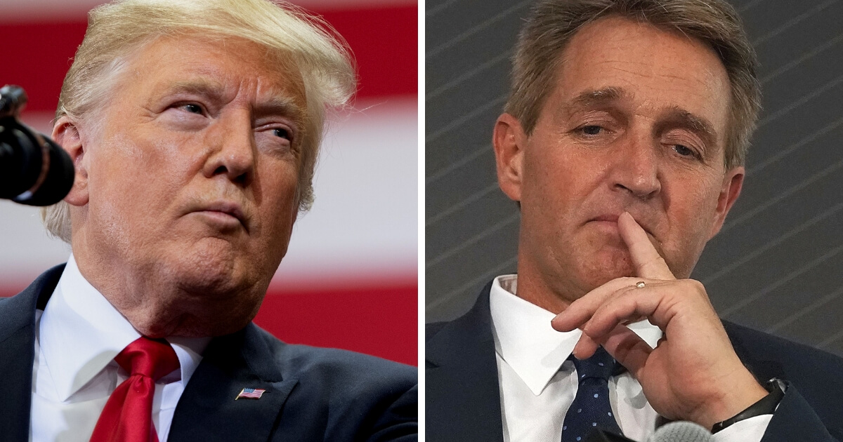 President Donald Trump, left, and Sen. Jeff Flake.