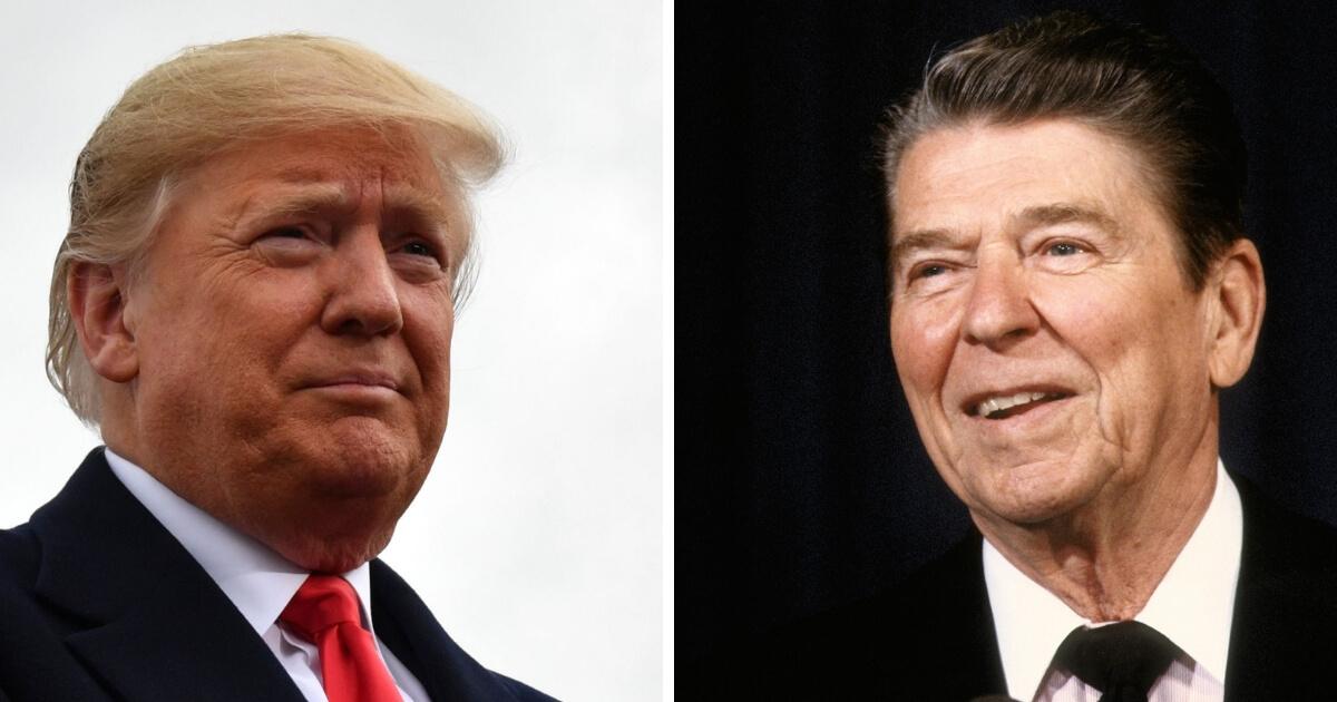 Presidents Donald Trump,left, and Ronald Reagan.