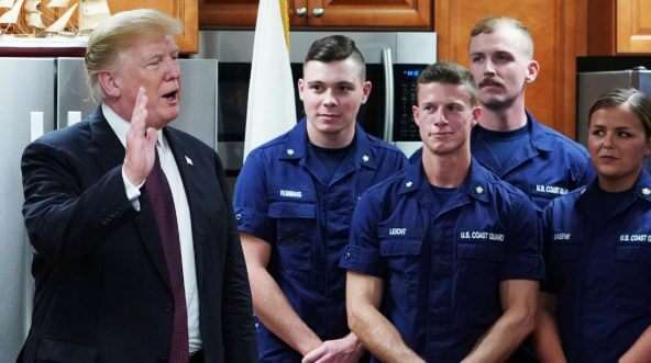 Trump and Coast Guard members